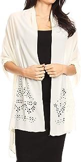 Sakkas Naomi Women Soft Sheer Embellished Chiffon Bridal Wedding Scarf Shawl Wrap