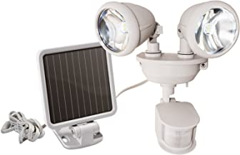 MAXSA Solar-Powered LED Dual Head Motion Activated Security Light for Porches, Sheds, Patios, & Barns Off-White 44218