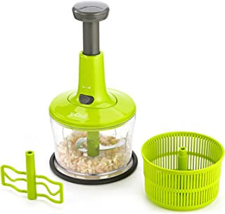 X-Chef Hand Chopper, 3 in 1 Manual Food Processor Vegetable Food Chopper for Chopping Blending Salad Spinning Drying, Upgraded One-Hand Press Operation, 5 Cup/1.2L