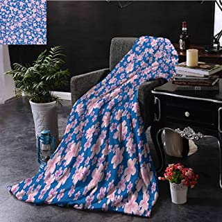 House Decor Collection Bedding flannel blanket Floral Classic Fabric Design Style Art Bloom Natural Lawn Backyard Cheering Image Super soft and comfortable luxury bed blanket W80 x L60 Inch Blue Pink