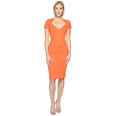 Zac Posen Bondage Jersey Short Sleeve Dress (Orange) Women