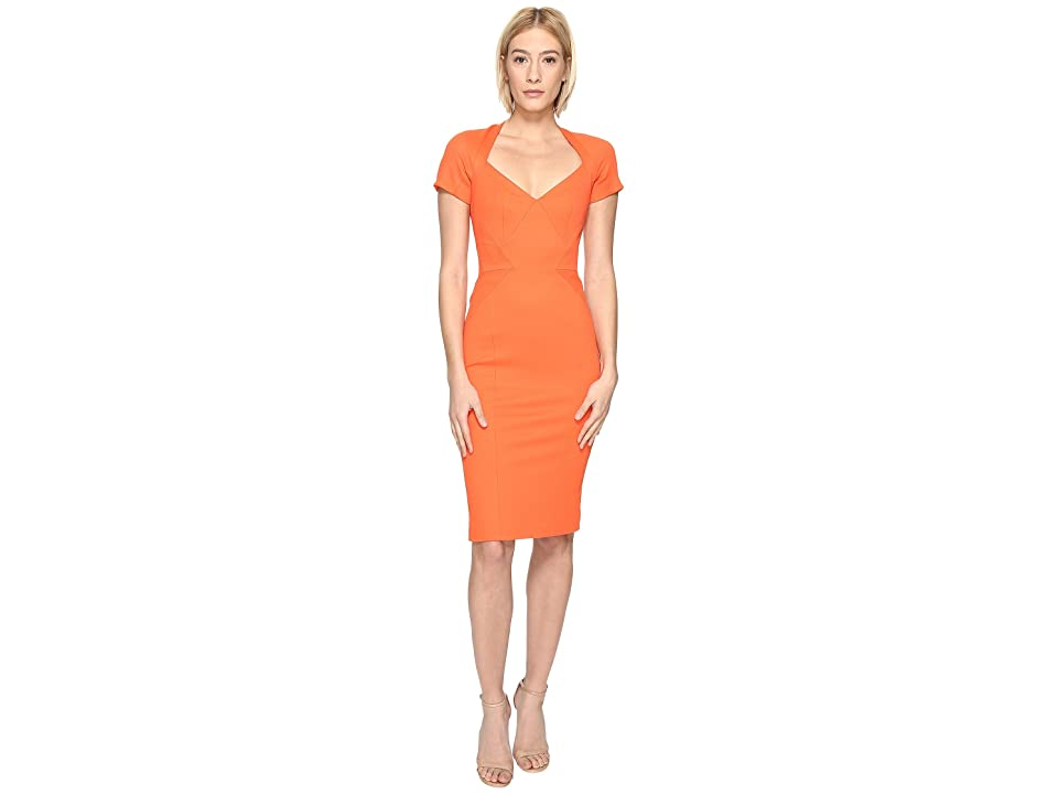 Zac Posen Bondage Jersey Short Sleeve Dress (Orange) Women