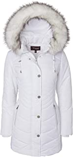 Sportoli Women's Longer Length Plush Lined Puffer Coat and Zip-Off Detacheable Fur Trim Hood
