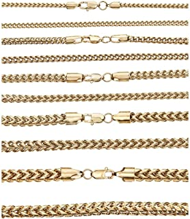 Harlembling Men's Real Solid Franco Chain - 14k Gold Over Stainless Steel - 3mm 4mm 5mm 6mm 8mm - 18-30