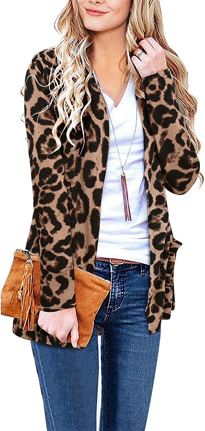 ULTRANICE Women's Long Sleeve Open Front Cardigan Casual Tops with Pockets