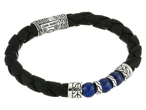 John Hardy Classic Chain Bracelet on 8 mm. Black Leather with 8 mm. Lapis Lazuli Beads