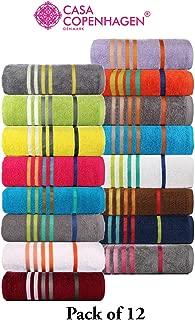 CASA COPENHAGEN 500 GSM 100% Egyptian Premium Cotton Exotic Designer SPA Bath Towel (60x120cm) Set of 12 Pcs - Assorted Colour