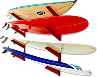 StoreYourBoard Timber Surfboard Wall Rack, Holds 4 Surfboards, Wood Home Storage Mount System