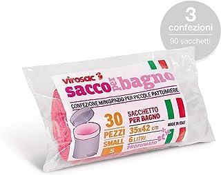 Virosac SaccoBagno - Bolsas pequeñas ideales para los cubos de basura del baño Perfume floral – 90 bolsas rosa medida 35 x 42 cm