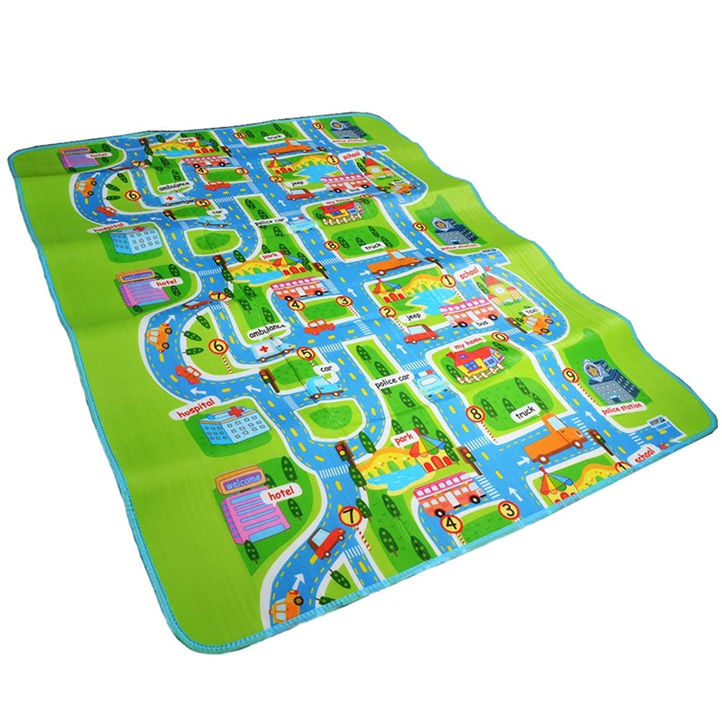 Jim Hugh Road Traffic Play Mat Kids Carpet Playmat Rug City Life Great for Playing with Cars and Toys Play Learn and Have Fun Safely gjdgnxcguxg546