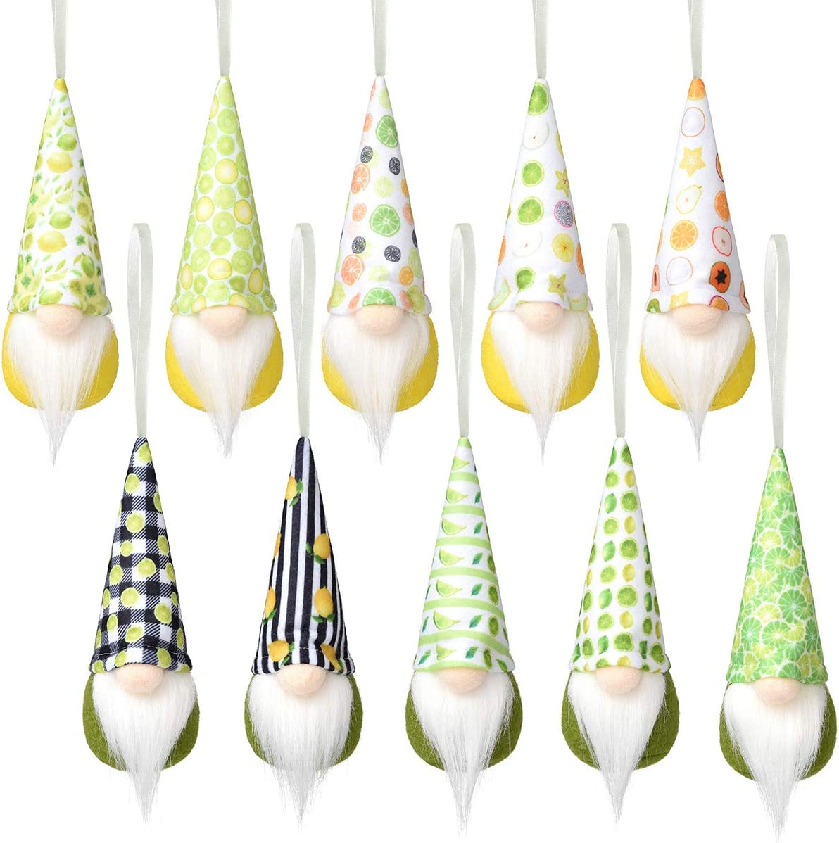 Lemon Hanging Gnome Ornaments Super Special SALE held Set 10 of Kitchen Decor Save money Handmade