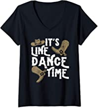 Womens Funny Line Dance Country Dancing Western Design Hats Boots V-Neck T-Shirt