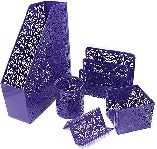 EasyPAG Desk Organizer Set 5-Piece Desk Accessories with Pencil Cup Holder, Letter Sorter, File Holder,Business Card Holder and Sticky Note Holder,Purple