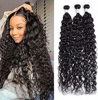 Maxine 10A Virgin Brazilian Water Hair Weave 3 Bundles, 100% Unprocessed Water Wave Wet and Wavy Long Human Hair Extension...