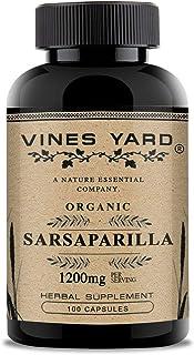 Vines Yard Sarsaparilla Root Capsules   100% Natural Herbal Smilax Ornata Supplement 1200mg   100 Pack