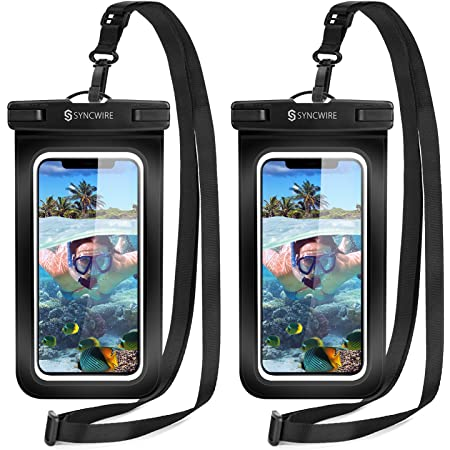 """Syncwire Waterproof Phone Case, 2-Pack Universal IPX8 Waterproof Phone Pouch Dry Bag for iPhone 12 Pro Max 12 Mini SE 2020 11 XS XR X 8 7 6s 6 Plus Samsung S21 S10 A50 Huawei P30 Mate20 Pro up to 7"""""""