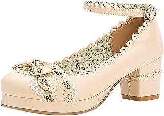 Kaizi Karzi Femmes Cute Lolita Pumps Bride Cheville Escarpins Bowknot Moyen Talons Bloc Chaussures