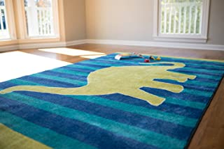 Mohawk Home  Aurora Friendly Dinosaur  Striped Printed Contemporary Kids Area Rug,5'x8',Blue