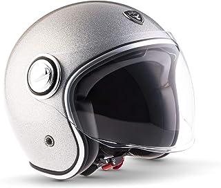 "SOXON SP-888 Pro ""Flakes Silver""  Jet-Helm  Motorrad-Helm Roller-Helm Scooter-Helm Moped Mofa-Helm Chopper  ECE 22.05 Sonnenvisier Leather-Design Schnellverschluss SlimShell Tasche M 57-58cm"
