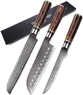 couteau 3 PCS Chef Couteau Set VG10 Japonais Damas Steel Santoku Pain Santoku Couteau de désossage Japonais Couteaux de cu...