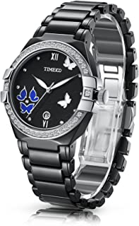 Time100 Women's Retro Sweet Butterfly Ceramic Strap Diamond Watch
