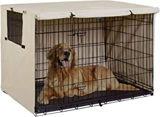 Explore Land 48 inches Dog Crate Cover - Durable Polyester Pet Kennel Cover Universal Fit for Wire Dog Crate (Light Tan)