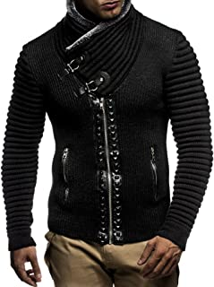 Leif Nelon LN5165 Men's Cardigan with Stud Details and...