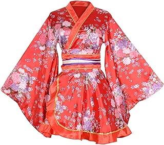 Kimono Bathrobe Costume Japanese Traditional Yukata Cosplay Women's Sexy Sakura Pattern High Split Long Kimono
