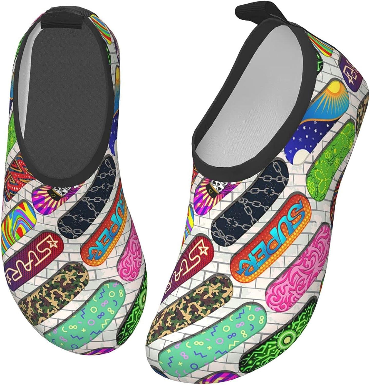 Bluebluesky Doodle Skateboard Kids Swim Water Shoes, Non-Slip Quick Dry Barefoot Aqua Pool Socks Shoes for Boys & Girls Toddler