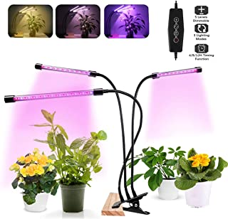 LED Grow Light for Indoor Plants Full Spectrum, Tri-Head 75W Desk Clip-on Plant Light for Small Plants,3 Modes & 5-Level Dimmable,Auto On/Off Timing 4H/8H/12H
