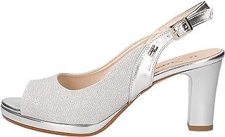 Valleverde Sandalo Donna Sintetico 28340 Platino o Nero o Silver. Una Calzatura Comoda Adatta per Tutte Le Occasioni. Prim...