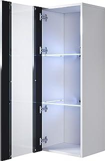 muebles bonitos Armario Colgante Modelo Luke V2 (40x126cm) Color Blanco y Negro