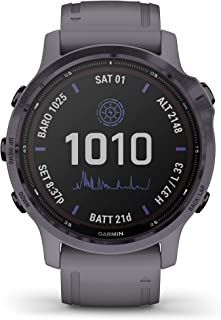 Garmin fenix 6S Pro Solar, Smaller-Sized GPS Watch, Features Mapping, Music, Grade-Adjusted Pace Guidance and Pulse Ox Sen...