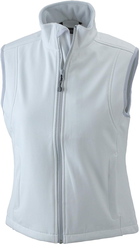 (Small (Manufacturer size  Small), White (off-white)) - James & Nicholson Women's Softshellweste Sleeveless Jacket