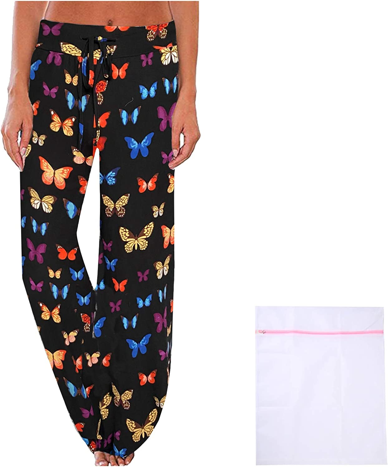 iniber Women's Comfy Pajama Pants Casual Lounge Pant Wide Leg Stretch Drawstring Palazzo with Laundry Bag