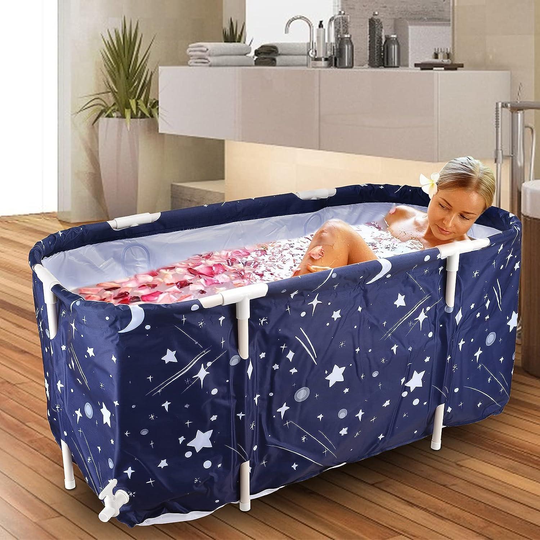 Vogvigo Bañera portátil plegable, bañera móvil plegable para adultos, bañera plegable para niños, bañera de gran capacidad ideal para baño familiar, bañera de hidromasaje(Azul y estrellas)