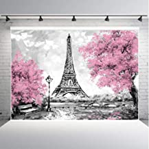 Qian Pink Flowers Trees Eiffel Tower Background for Photography Gray Paris Photo Studio Props Banner Wedding Theme Party B...