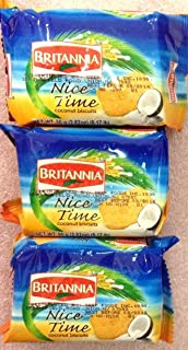 Britannia Nice Time Coconut Biscuits - 80g., 2.82oz. (Pack of 3)