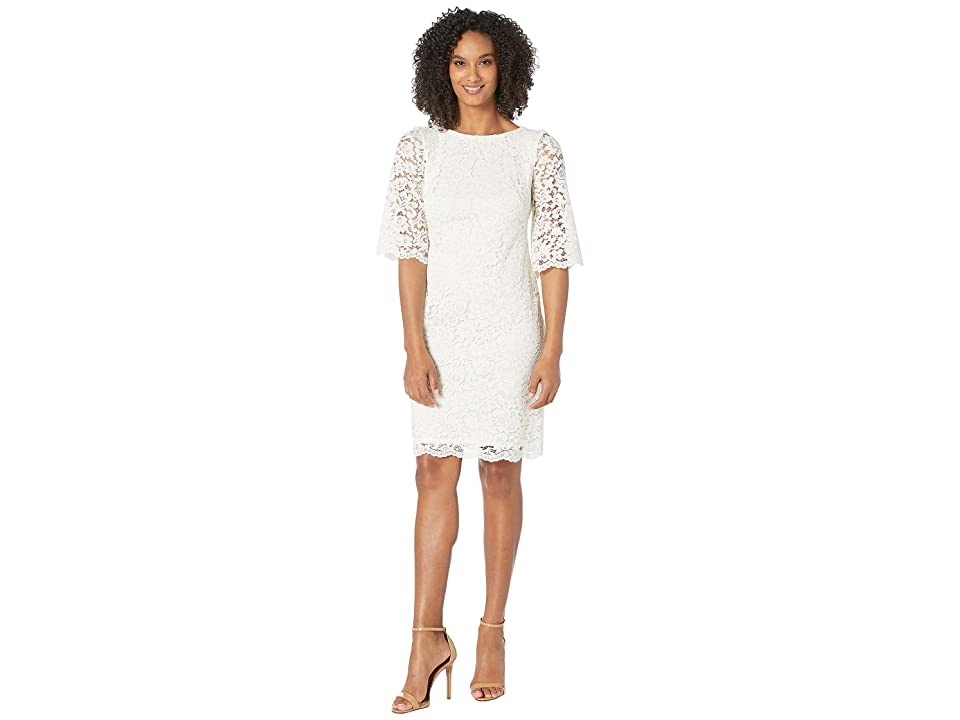 LAUREN Ralph Lauren 150E Piazza Floral Jillias Elbow Sleeve Day Dress (Lauren White) Women