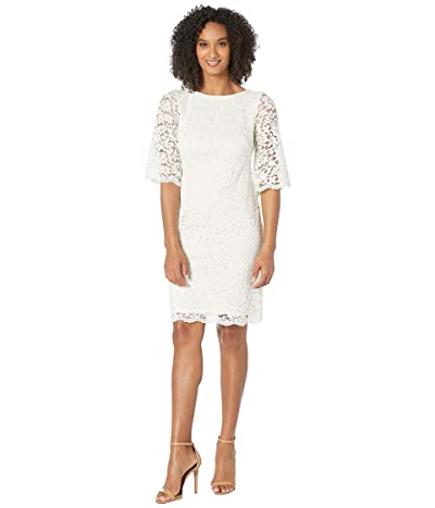 LAUREN Ralph Lauren 150E Piazza Floral Jillias Elbow Sleeve Day Dress (Lauren White) Women