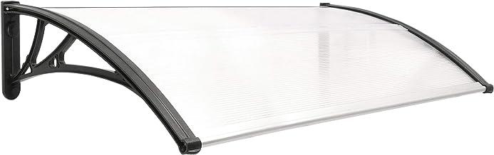Festnight Marquesina para Puerta PC 150X80 Cm Color Soportes Grises y l/áminas Transparentes