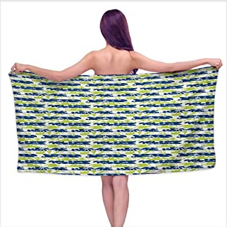 Glifporia Custom Bath Towel Floral,Stripes with Nature Blossom Silhouettes Coming of The Spring Theme,Navy Blue and Apple Green,W10 xL39 for Men red