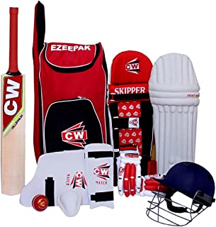 CW Storm Junior Wooden Cricket Set Kashmir Willow Full Batting Kit for Boys Size 4 (7-8 Yrs Old Kids Combo) Red