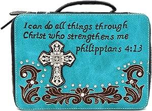 Bible Cover Western Bible Book Case Messenger Bag Scripture Verse Embroidery Rhinestone Cross Philippians 4:13 Blue