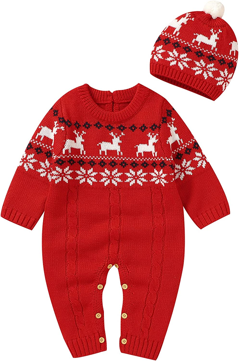 LAWKUL Baby Christmas Outfit Sweater Knit Onesies Clothes Santa Claus Hat Beanie
