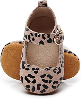 HONGTEYA Baby Mary Jane Moccasins Genuine Leather Buckle Baby Girls Shoes with Soft Sole