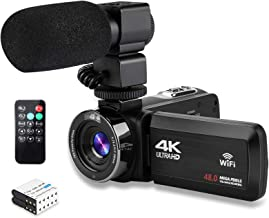 Video Camera 4K Camcorder Ultra HD Vlogging Camera for YouTube,48MP 16X Digital Zoom Recorder IR Night Vision 3.0 inch Tou...