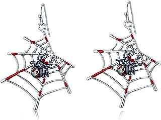 Halloween Bloody Spider Web Earrings, Handmade Lightweight Earrings Gifts for Women Girls, Halloween Party Jewelry