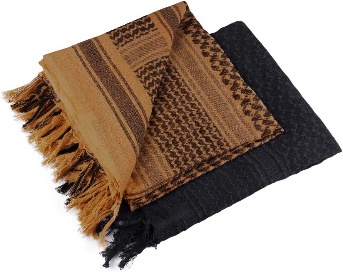 FREE SOLDIER 100/% Cotton Scarf Military Shemagh Tactical Desert Keffiyeh Head Neck Scarf Arab Wrap with Tassel 43x43 inches