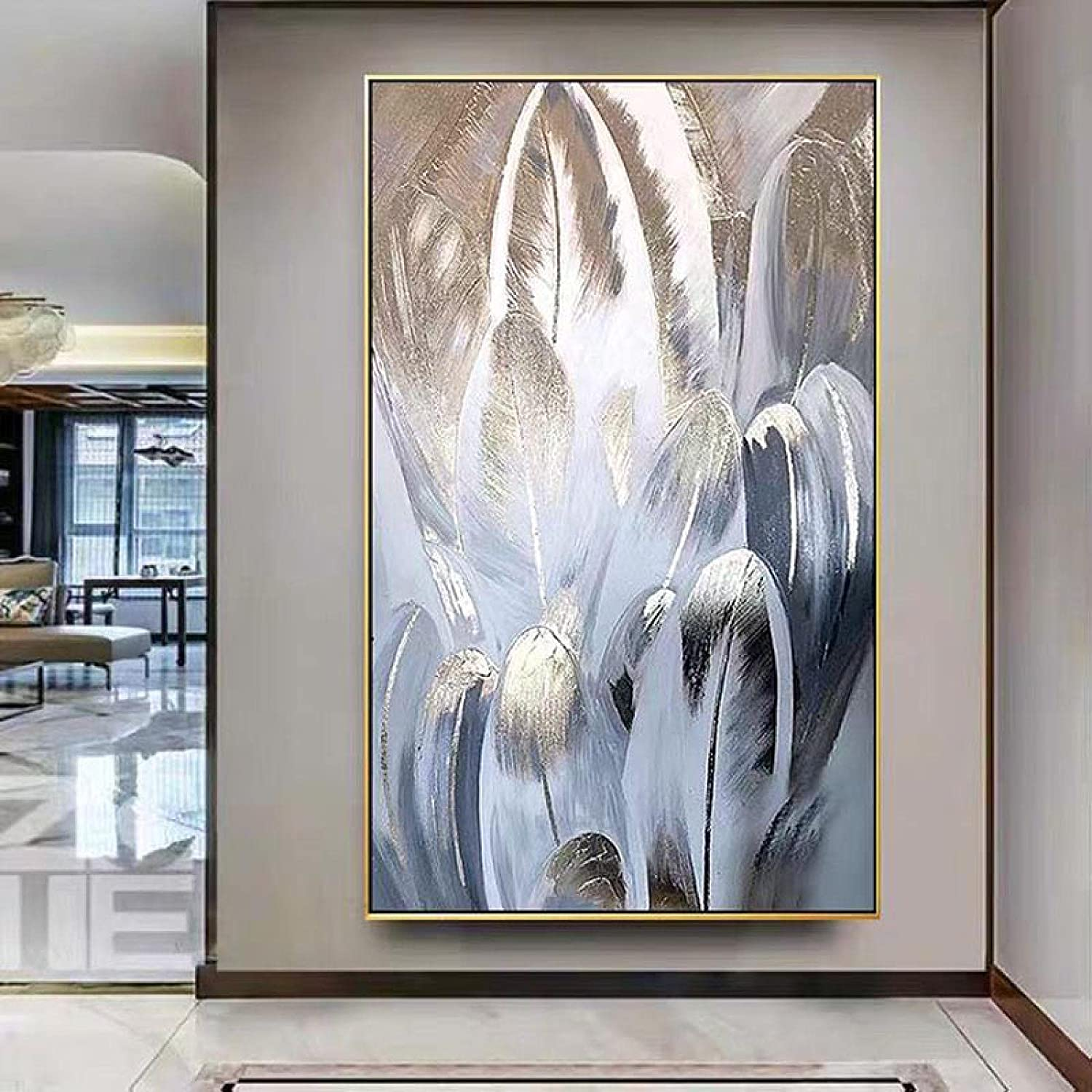 Wall Art 5 ☆ very popular Gold Feather Prints Trust Loft Painting M Large Big Size